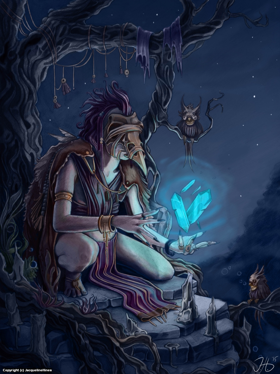 Eule the Mystic Artwork by Jacqueline  Hines