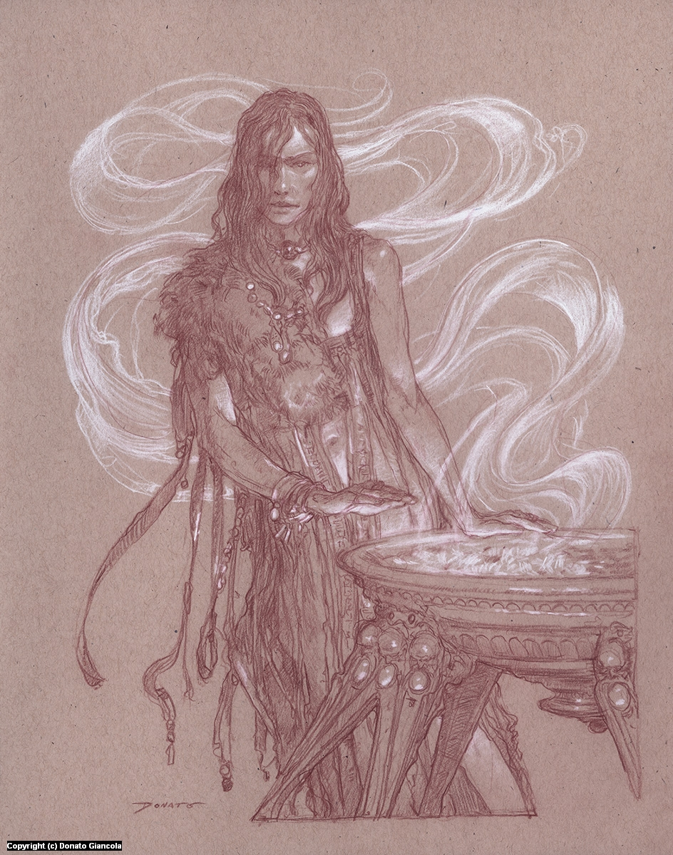 Melisandre - Warm yourself with my fire? Artwork by Donato Giancola
