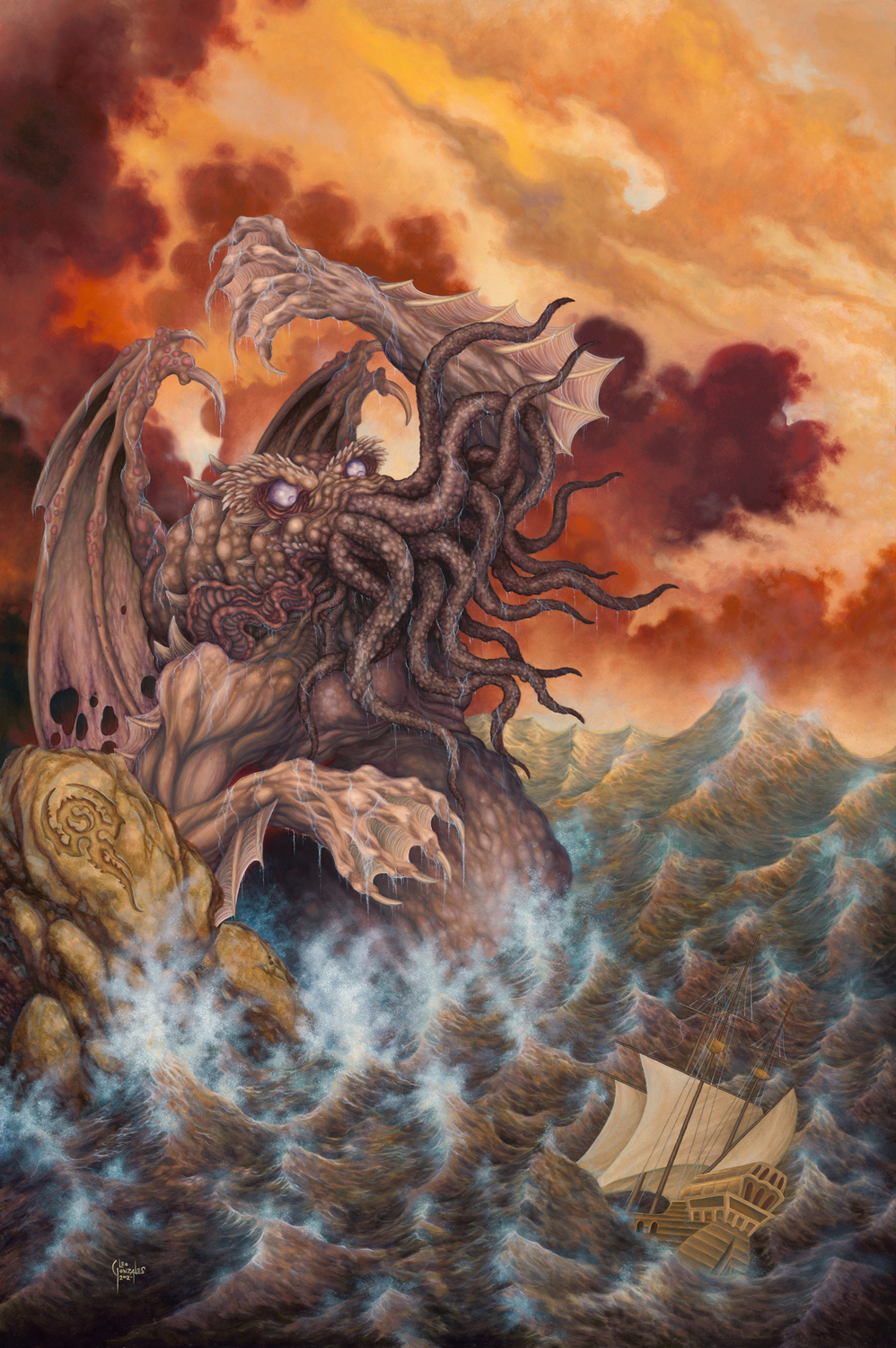 Cthulhu Rising Artwork by Leo Gonzales