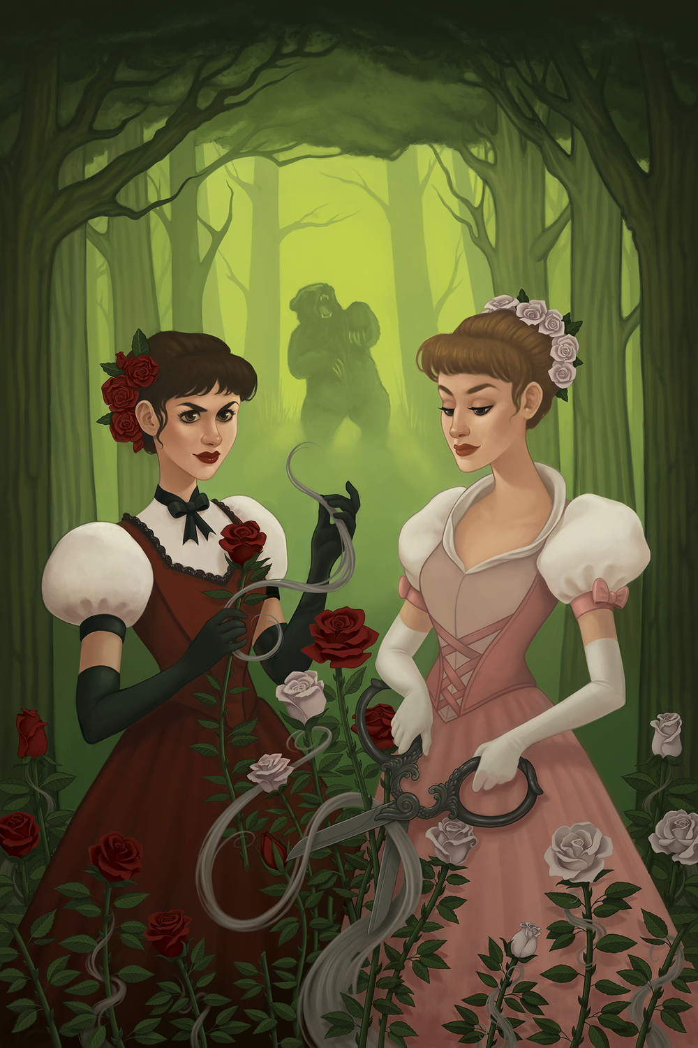 Snow-White And Rose-Red Artwork by Rachel Perciphone