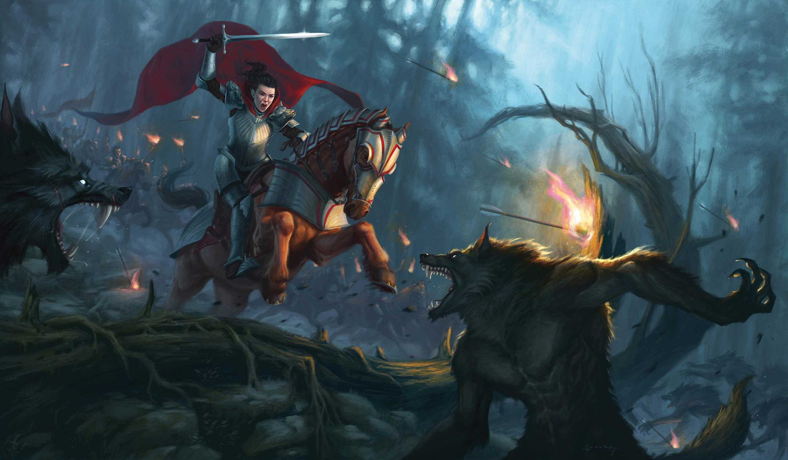 Red riding hood on her horse Artwork by Alexandre Honoré