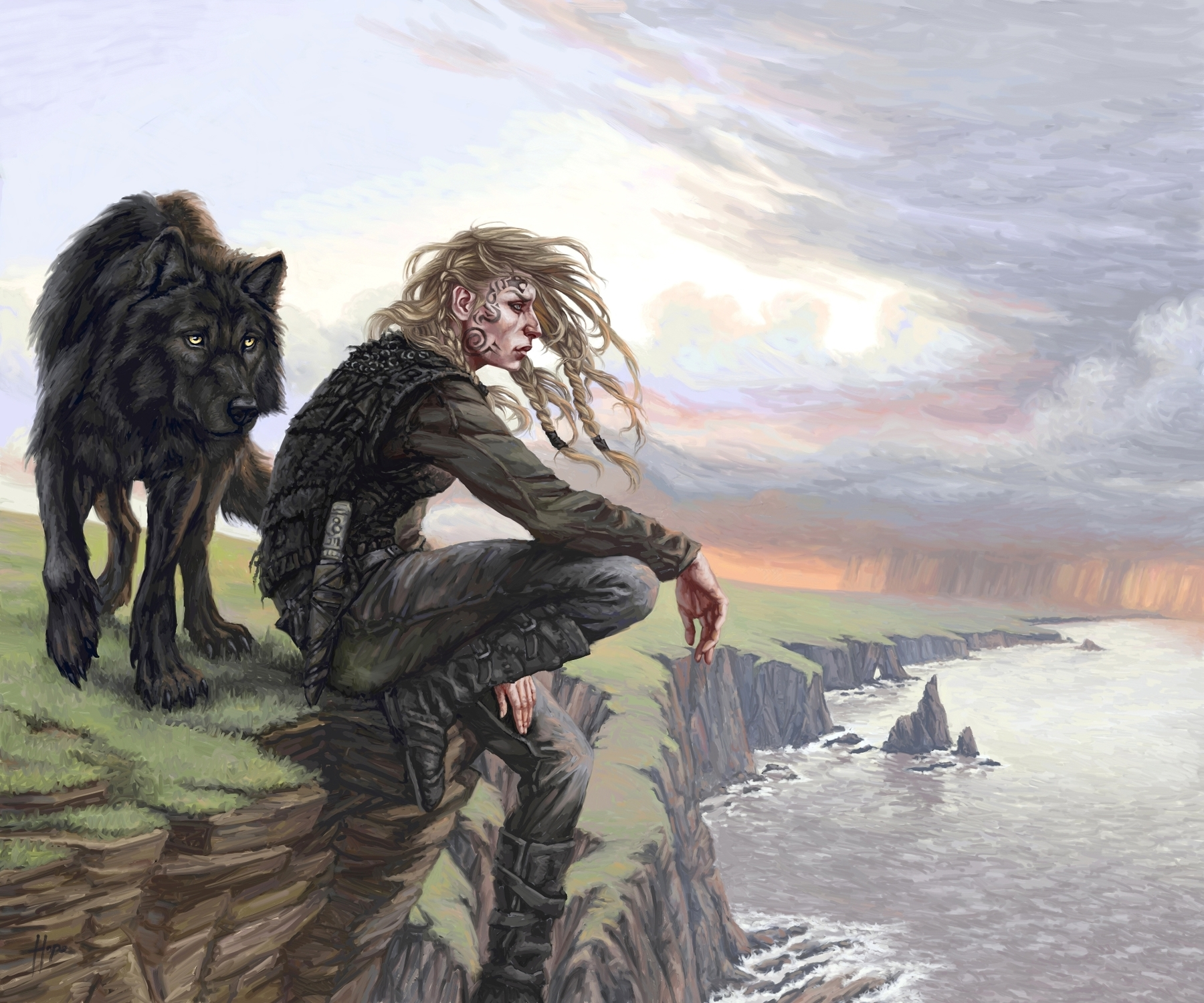 Rhona and the Wolf Artwork by Candra Hope