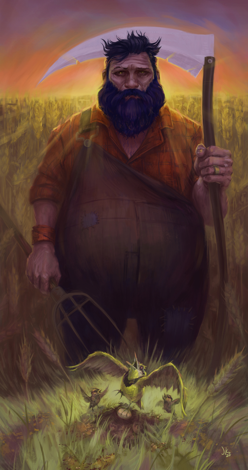 The Farmer, the lark, and her younglings Artwork by Jeff Kristian