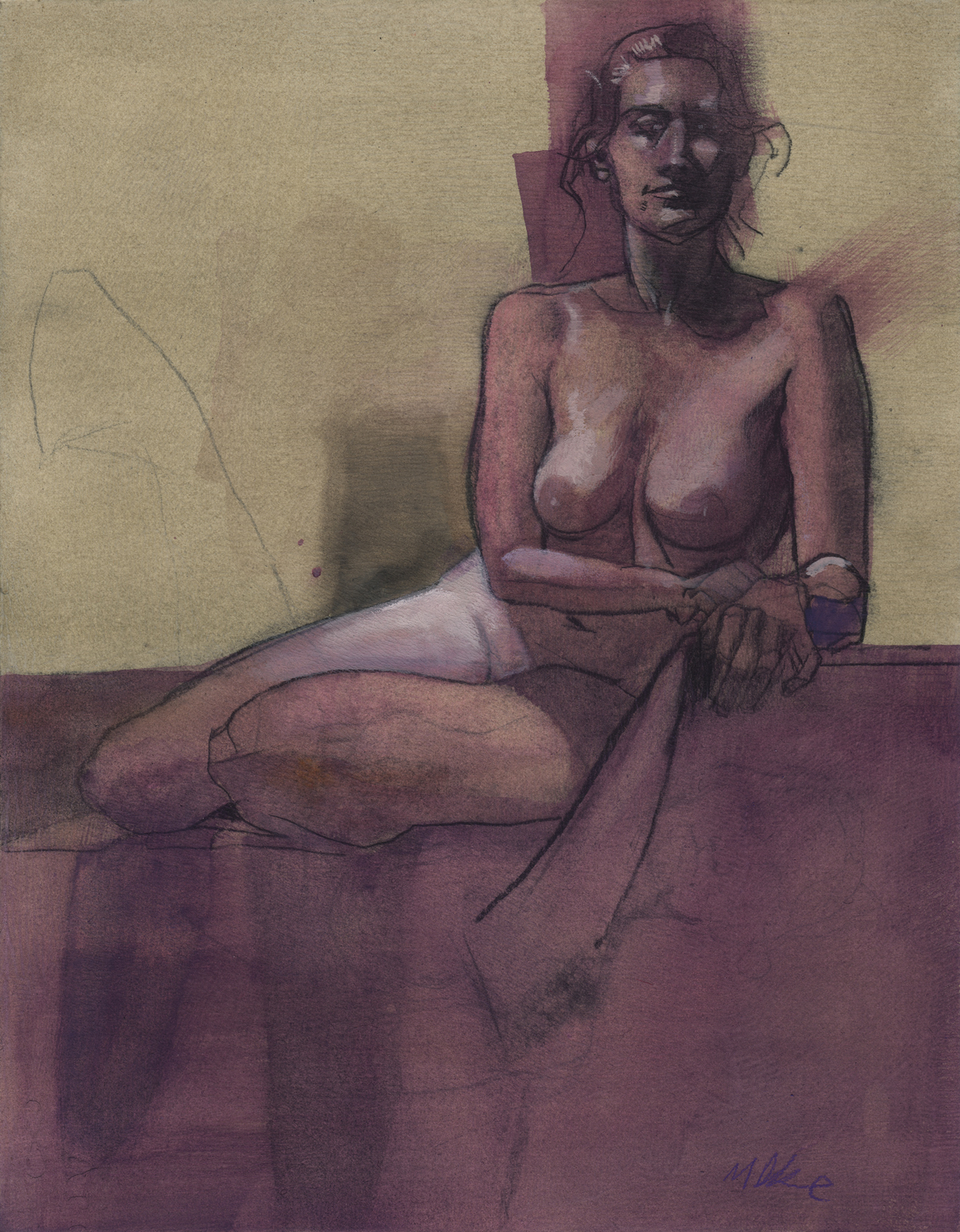 Nude in Purple Artwork by Matt Dicke
