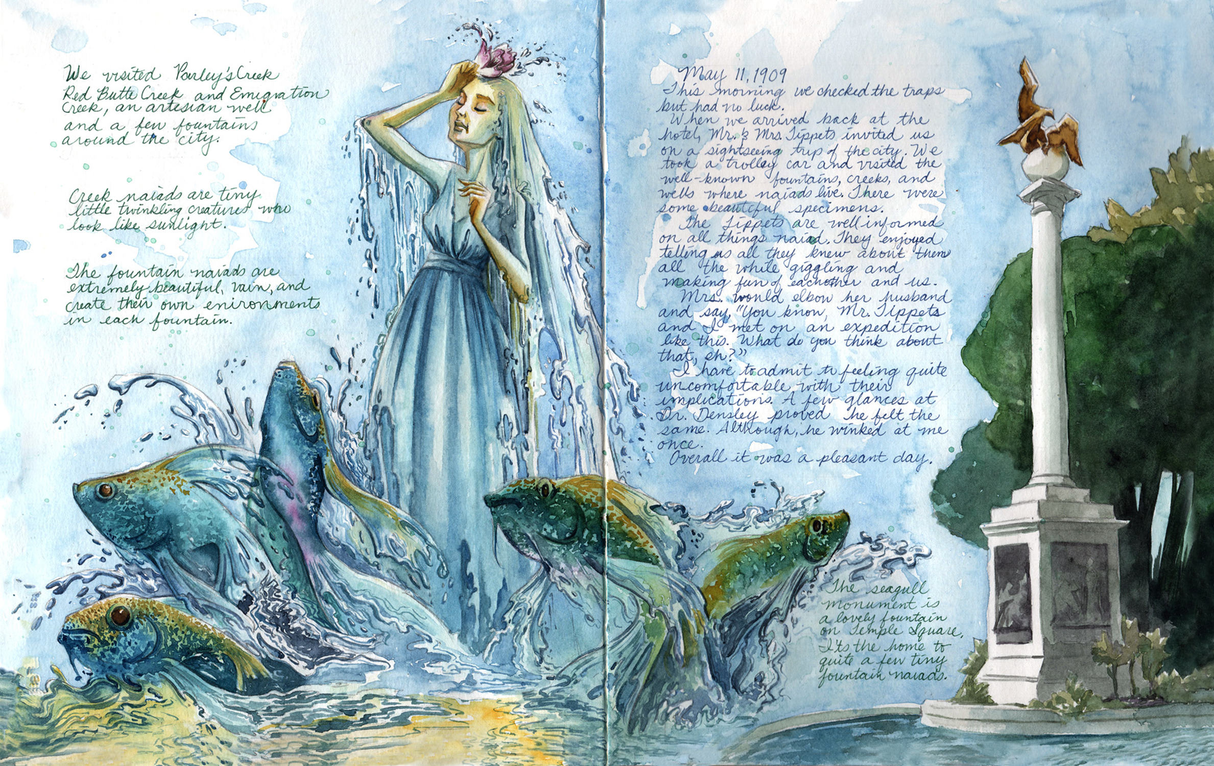 The Great Naiad Discovery of 1909 Page 14-15 Artwork by Manelle Oliphant