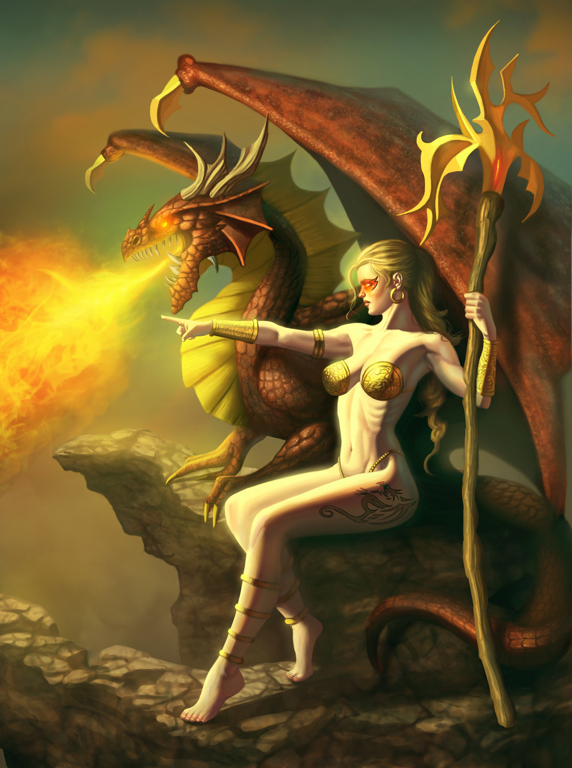 Lady and Dragon Artwork by George Patsouras