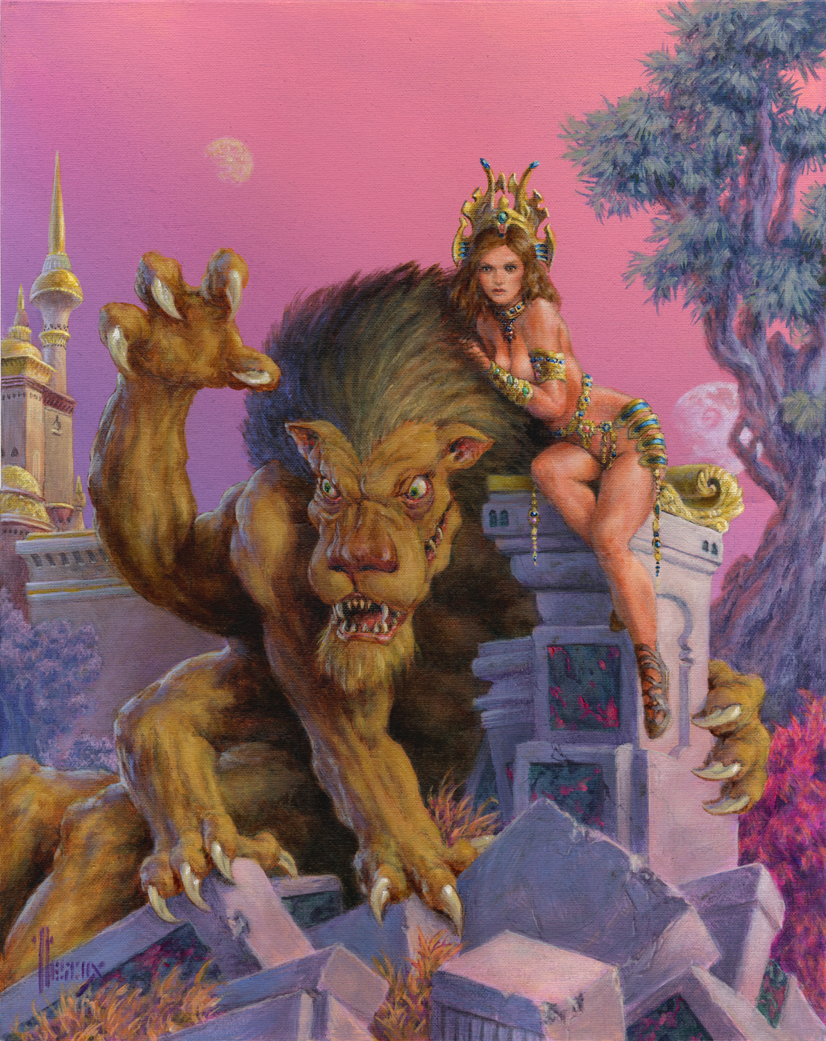 Thuvia and Her Banth Artwork by Richard Hescox