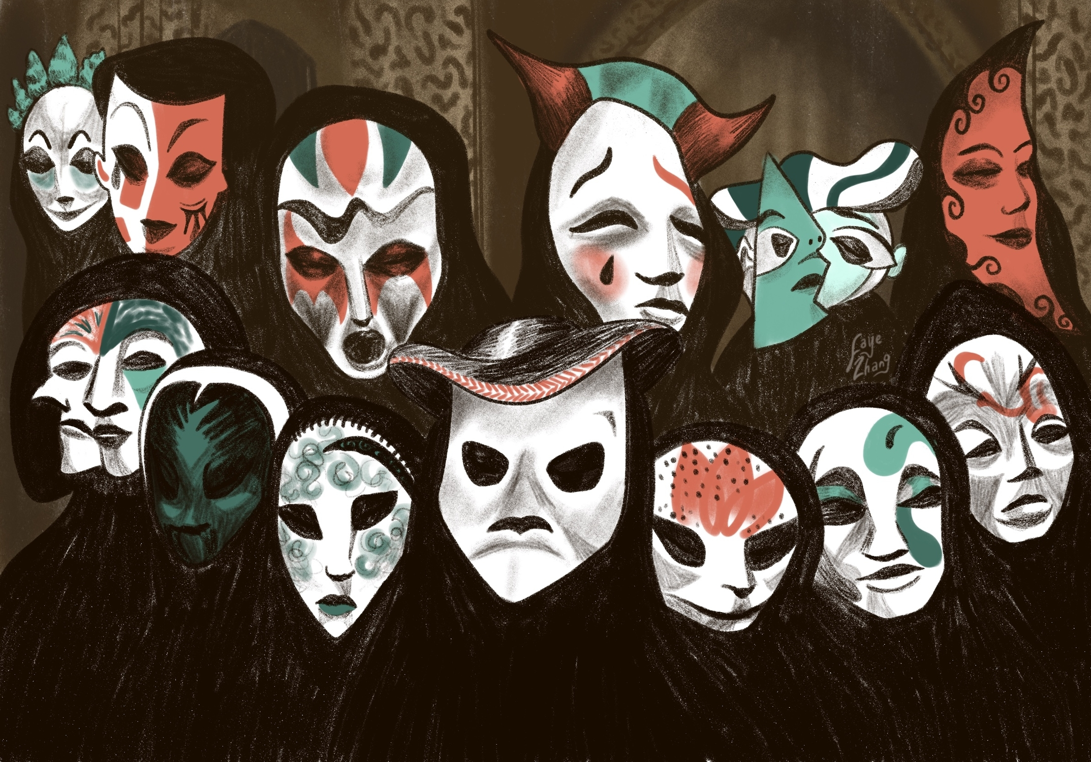 Masks from Eyes Wide Shut Artwork by Faye Zhang